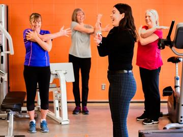 Participants exercising together in the cancer and exercise program in the Thrive Centre
